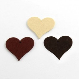 WB063: NATURAL: Heart Wood Pendants 40x44x2mm, 25 pieces [ A13 ]