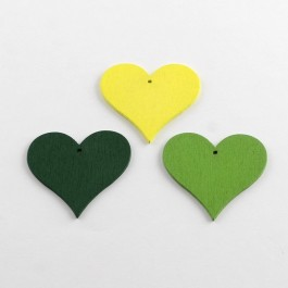 WB064: GREEN: Heart Wood Pendants 40x44x2mm, 25 pieces [ A13 ]