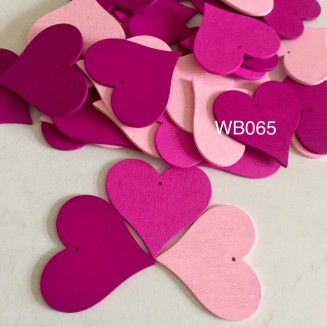 WB065: RED: Heart Wood Pendants 40x44x2mm, 25 pieces [ A20 ]