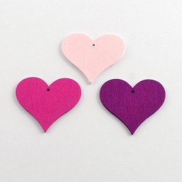 WB065: RED 25 pcs 40x44mm Heart Dyed Wood Pendants Embellishment Accessories DIY Personalize Key Chain Key Ring Charm