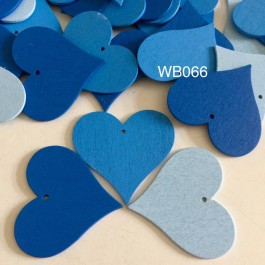 WB066: BLUE: Heart Wood Pendants 40x44x2mm, 25 pieces [ A13 ]
