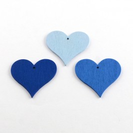 WB066: BLUE 25 pieces 40x44mm Heart Dyed Wood Pendants Embellishment Accessories DIY Personalize Key Chain Key Ring Charm