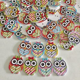 WB068: Owl Wood Button 25x20mm, 50 pieces [ C2 ]