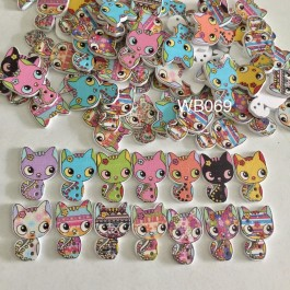 WB069: Cute Cat Wood Button 26x17mm, 50 pieces [ C7 ]