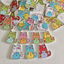 WB045: Cute Cat Wood Button 26x24mm, 50 pieces [ C07 ]