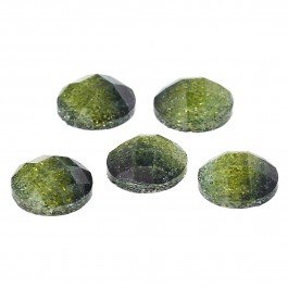 B65700: Resin Dome Yellow Glitter 10mm, 100 pieces