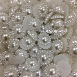 SA589: WHITE Acrylic Pearl Imitation Flower 12mm, 100 pieces