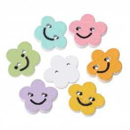 B49675: 100 pieces 13x12mm Wood Sewing Button Scrap-booking Flower At Random Smile Face Pattern 2 Holes DIY Kids Craft [ B17 ]
