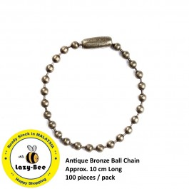 B0096830: Antique Bronze Ball Chain 10cm, 100 Pieces [ B8 ]