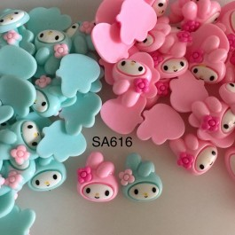SA616: My Melody Cute Kawaii Flat Back Resin 20x18mm, 10 pieces