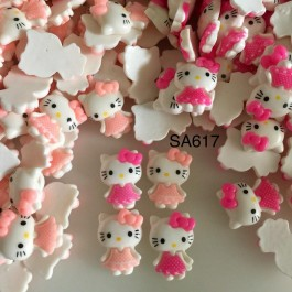 SA617: Kitty Cute Kawaii Flat back Resin Cabochon 22x18mm, 10 pieces