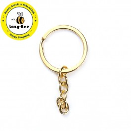 B0095099: Gold Plated Keychain Keyring Round 66x32mm, 10 pieces/pack [ B13 ]