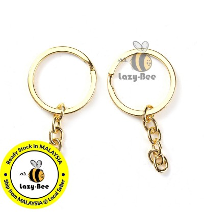 B0095099: 10 pieces Gold Plated Keychain Keyring Round 66x32mm [ B13 ]