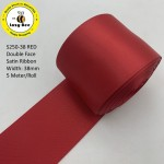 S250-38: RED: Double Faced Satin Ribbon 38mm, 5Meter
