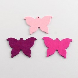 WB073: RED: Butterfly Wood Pendants 37x50mm, 25 pieces [ A20 ]