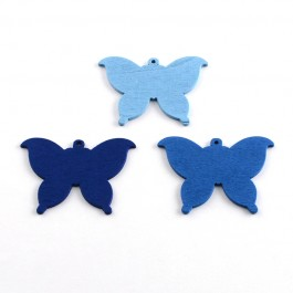 WB074: BLUE: Butterfly Wood Pendants 37x50mm, 25 pieces [ A20 ]