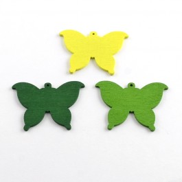 WB075: GREEN: Butterfly Wood Pendants 37x50mm, 25 pieces [ A20 ]