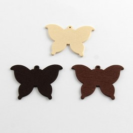 WB076: NATURAL: Butterfly Wood Pendants 37x50mm, 25 pieces [ A20 ]