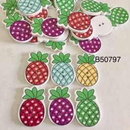 B50797: Pineapple Wood Button 30x 21mm, 50 pieces [ A8 ]