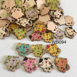 WB094: Cat Wood Button 22x24mm, 50 pieces [ B2 ]