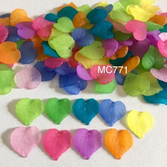 MC771: Frosted Acrylic Leaf Charms 16x15mm, 25 gms (approx 85 pieces) [ B6 ]