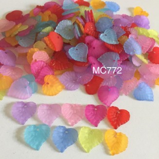 MC772: Frosted Acrylic Leaf Charms 14x14mm, 46 gms(approx 180 pieces) [ C17 ]