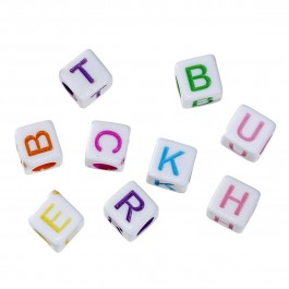 B57956: Acrylic Spacer Beads Cube White Alphabet 6x6mm, 500 pieces [ A11 ]