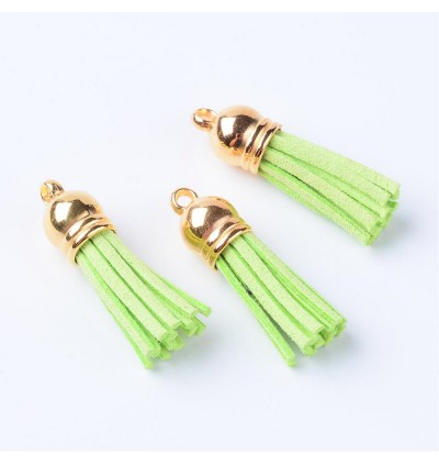 MC777: Gold Faux Suede Tassel Pendant 37x10mm, 20 pieces [ A23 ]
