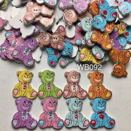 WB092: Cute Bear Wood Button 28x25mm, 50pieces [ C6 ]