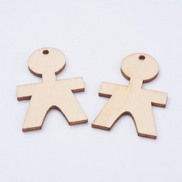 WB079: BOY Wood Pendants 45x30mm, 10 pieces [ B7 ]