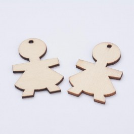 WB080: GIRL Wood Pendants 45x30mm, 10 pieces [ B7 ]