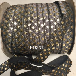 ER331: CHARCOAL with Gold Star 15mm Elastic Ribbon, 5 meter/pack