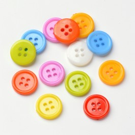 MC763: 200 pieces 15mm Acrylic Sewing Buttons Plastic Shirt Buttons 4 Holes Dyed Flat Round DIY Kid Craft [C14]