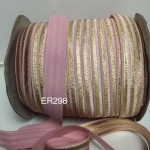ER298: PINK Gold Foil: 15mm Elastic Ribbon 5meter/pack