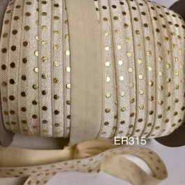 ER315: Ivory with Gold Dot: 15mm Elastic Ribbon 5meter/pack