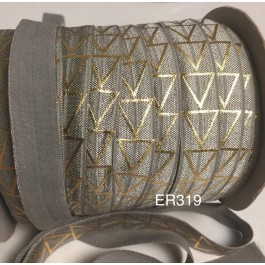 ER319: Grey with Gold Diamond: 15mm Elastic Ribbon 5 meter/pack