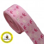 RB314: Pink Crown Grosgrain Ribbon 25mm, 5Meter