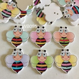 WB095: 50 pieces 24x24mm Cute Bee Wood Button DIY Kids Craft scrapbook [ C07 ]