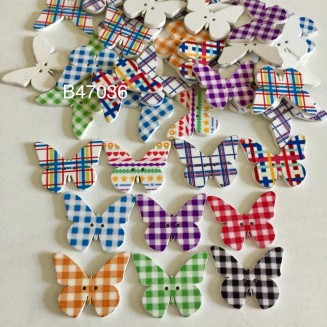 B47036: Butterfly Wood Buttons 30x24mm, 50 pieces [ A9 ]