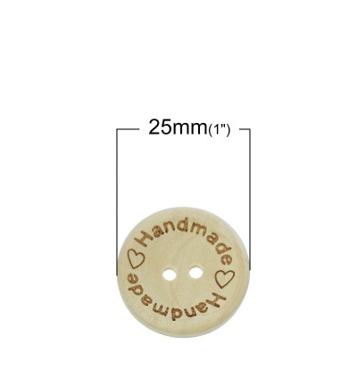 B62153: Natural Buttons With Message Handmade 25mm, 50 pieces [ A7 ]
