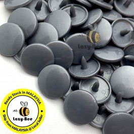 KM165: B13 SILVER GREY 50 Sets (200 pcs) T5 12.4mm KAM Snap Button Plastic Fastener DIY Sewing Craft Baby cloth GLOSSY / MATTE