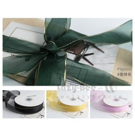 45 meters 25mm Organza Ribbon with Gold Trim DIY Wedding Gift Wrapping Florist