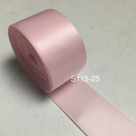 S115-25: POWDER PINK: Double Faced Satin Ribbon 25mm, 5Meter
