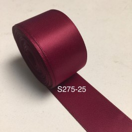 S275-25: WINE: Double Faced Satin Ribbon 25mm, 5Meter