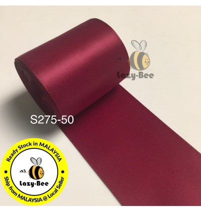 S275 WINE: 5 meter Double Faced Satin Ribbon Wedding DIY Craft Bow knot Perkahwinan Borong Balut Reben