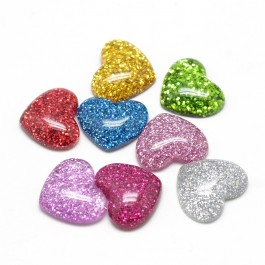 SA655: 20 pieces 14x16mm Heart Mixed Color Resin Cabochons with Glitter Powder DIY kid Craft Hair Accessory [A23]