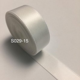S029-15: WHITE: Double Faced Satin Ribbon 15mm, 5Meter/pack