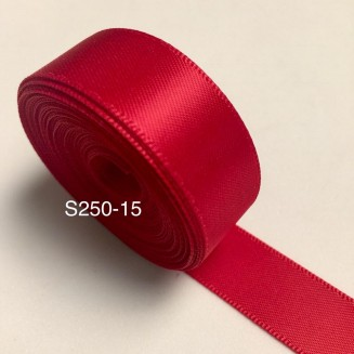 S250-15: RED: Double Faced Satin Ribbon 15mm, 5Meter/pack