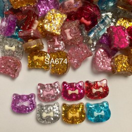 SA674: Cat with Bowknot Resin 16x19mm, 20 pieces [ C18 ]