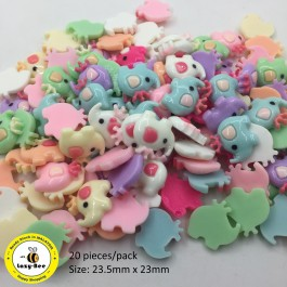 SA670: Elephant Resin Cabochons 23.5x23mm, 20 pieces [ A1 ]